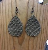 Diamond T Outfitters Taupe Weave Teardrop Earring