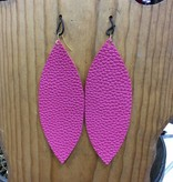 Diamond T Outfitters Pink Leather Oval Earring
