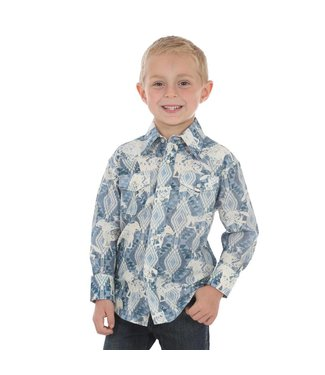 Wrangler Youth Blue/White Checotah Pearl Snap