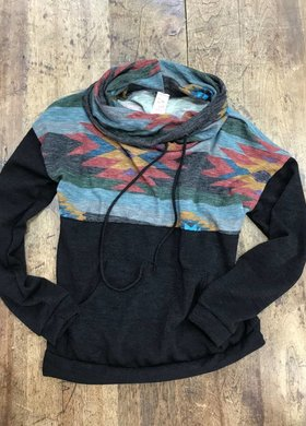 Diamond T Outfitters Black Aztec Cowl Neck Pullover