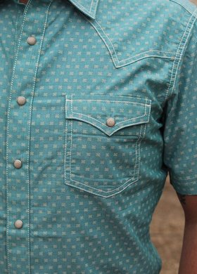 Diamond T Outfitters Wrangler Retro®  Short Sleeve Blocked Snap