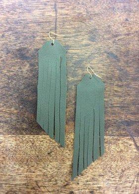 Stamping821 Olive Suede Fringe Earring