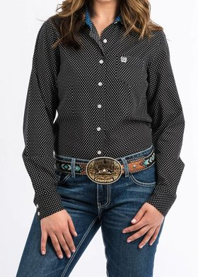 Cinch Ladies Cinch Black Print Arena Shirt