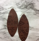 Stamping821 Brown Aztec Tooled Earring