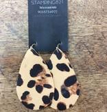 Stamping821 Tan Leopard Teardrop Earring