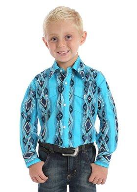 Wrangler Youth Wrangler Teal Checotah Pearl Snap