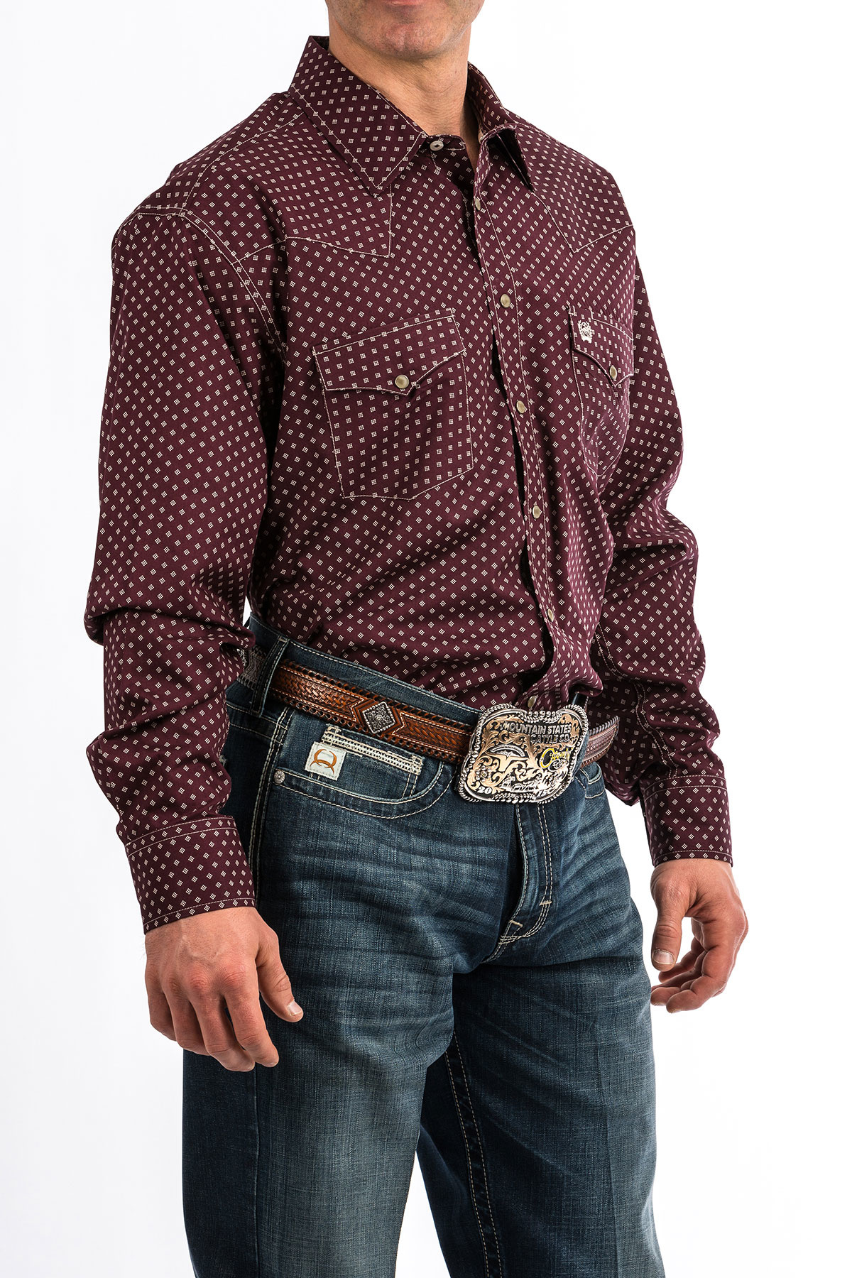Cinch Cinch Modern Fit Maroon Square Peral Snap