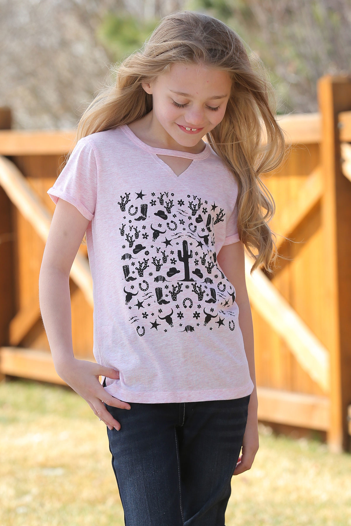 Cinch Cruel Pink Southwest Tee