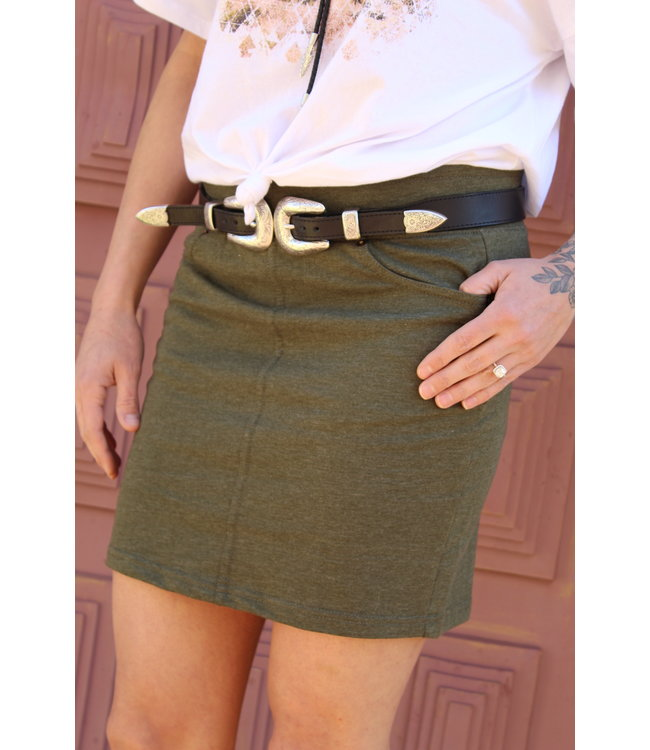 Z Supply Army Green Knit Skirt