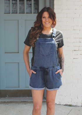 Z Supply Dusty Blue Knit Denim Shortalls