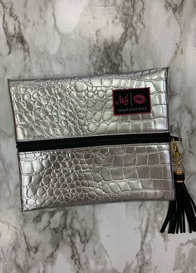 Makeup Junkie Bags MJ Silver Gator Small