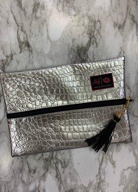 Makeup Junkie Bags MJ Silver Gator Medium