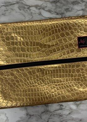 Makeup Junkie Bags MJ Gold Gator Large