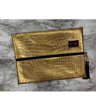 Makeup Junkie Bags MJ Gold Gator Large