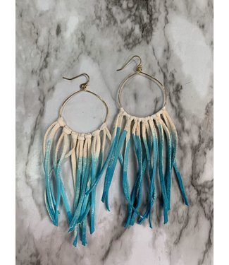 Stamping821 The Hoop Fringe Earring Blue Ombre