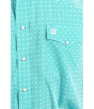 Cinch Cinch Classic Pearl Snap Teal Print