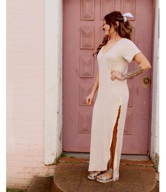wanderlux Oatmeal Frayed Dress