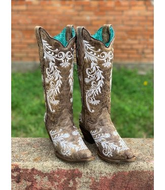 Corral Boot Co Corral White Embroidery Glow in the Dark Boot
