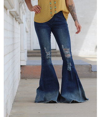 Turquoise Haven Distressed Denim Bell Bottom