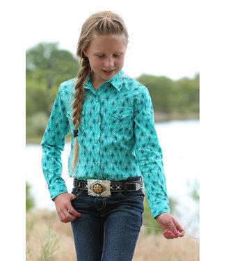 CRUEL GIRL Teal Cactus Pearl Snap Arena Shirt