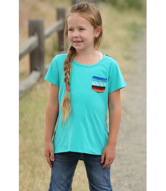 CRUEL GIRL Girls Teal Serape Tee
