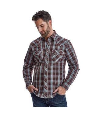 Wrangler Easy Care Maroon Blue Plaid
