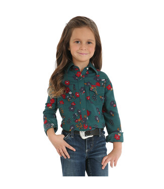 Wrangler Little Girls Green Floral Arena Shirt