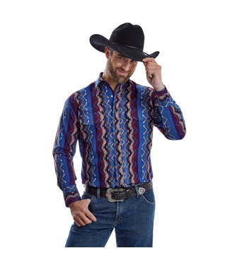 Wrangler Mens Red/Blue Checotah Pearl Snap