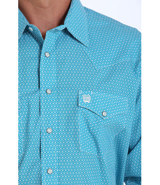 Cinch Cinch Classic Pearl Snap Turquoise Print