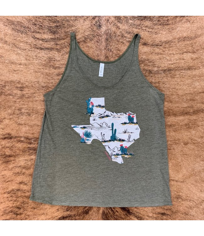 Ranch Swag Olive Cactus Texas Tank