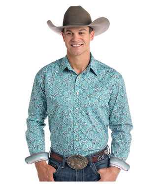 Panhandle Slim Roughstock Pearl Snap Turquoise Paisley
