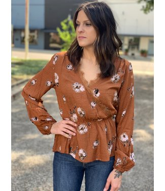 All In Favor Rust Willow Blouse
