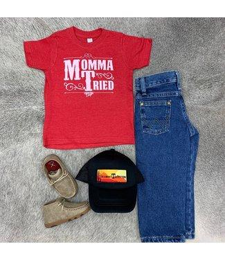 Country Deep Mama Tried Tee Red