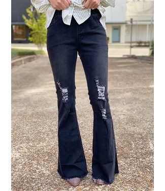 Turquoise Haven Distressed Black Betty Bell Bottom