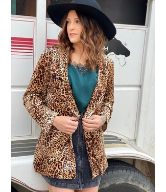 Turquoise Haven Cheetah Velvet Blazer