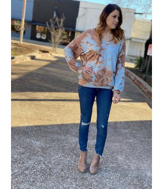 Diamond T Outfitters Copper Tie Dye Top