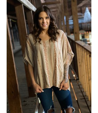 By Together Taupe & Mauve Oversized Top