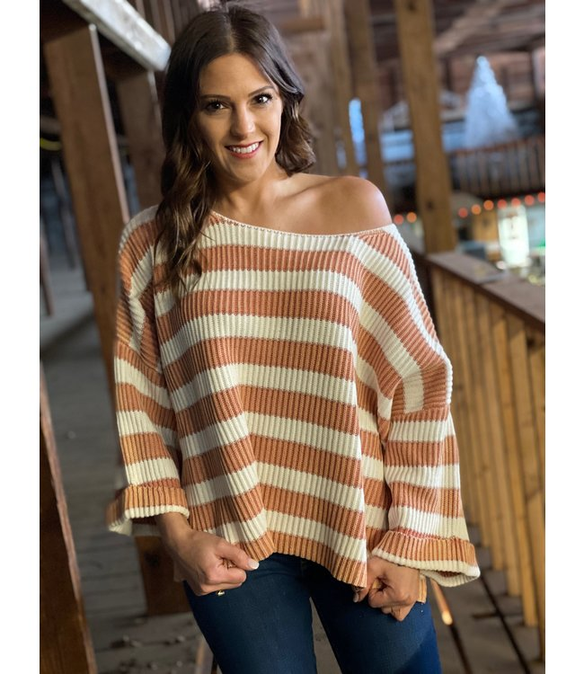 By Together Mauve Multi Stripe Top