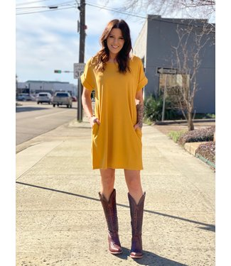 Entro Inc The Basics T Shirt Dress Mustard