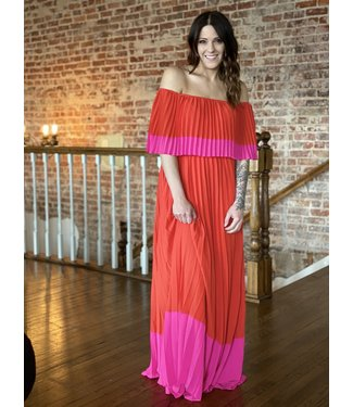 Entro Inc Color Block Pleated Maxi
