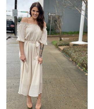 All In Favor Nude Off the Shoulder Dress