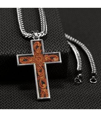Diamond T Outfitters Twister Leather Cross Necklace