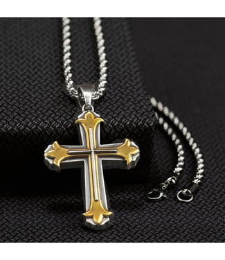 M&F Western Twister Mens 2 Tone Cross Necklace
