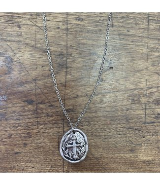 M&F Western Silver Strike Cross Wax Stamp pendant