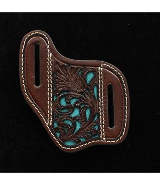 M&F Western Flat Lay Turquoise Inlay Tooled Knife Sheath 180503