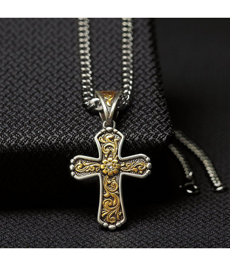 Diamond T Outfitters Twister Two Tone Cross Filigree Necklace