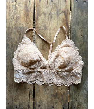 Listicle Champagne Floral Lace Bralette