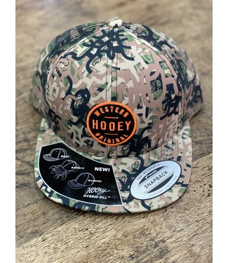YOUTH Hooey, Camo 6-Panel Trucker with Black and Orange Patch - Youth