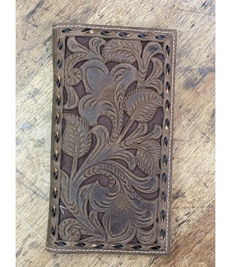 Nocona Nocona Brown Floral Embroidery Inlay Rodeo Wallet