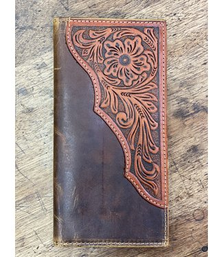 M&F Western Distressed Brown Floral Tooled Rodeo Wallet